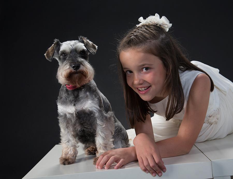 Sesión fotográfica de comunión en estudio con tu amigo animal !!